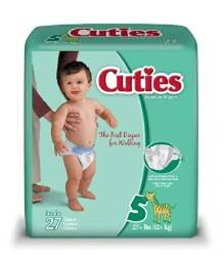 First Quality Baby Diaper Cuties Tab Closure Size 5 Disposable Heavy Absorbency (#CR5001, Sold Per Case) by Cuties