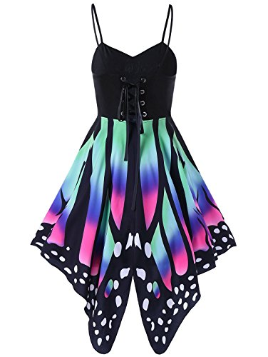 Best Sexiest Halloween Costumes (Aro Lora Women's Butterfly Printed Lace up High Waist A Line Irregular Swing Dress Large Green Pink)