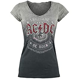 AC/DC Let There Be Rock Women T-Shirt Grey-Dark Grey, Wide