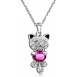 "Caperci Cute ""Lucky Cat"" With SWAROVSKI ELEMENTS Pink Crystal Pendant Necklace Women Valentines Day Gift"