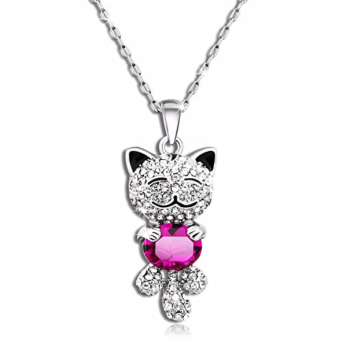 Caperci Pink Sapphire Swarovski Crystal Elements Lucky Cat Pendant Necklace Valentine's Day Love Gift for Her Daughter Girlfriend
