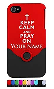 Engraved iPhone 4/4S Case/Cover - KEEP CALM AND PRAY ON - Personalized for FREE (Send us an Amazon email after purchase with your engraving request)