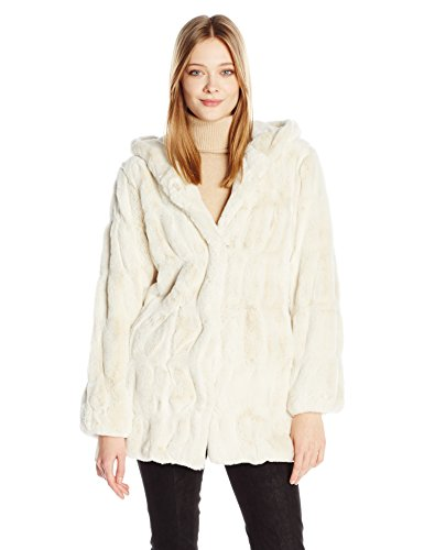 Donna Salyers' Fabulous-Furs Women's Couture Mink Faux Fur Hooded Coat, Ivory, M ()