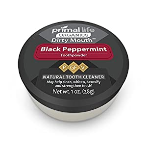 Dirty Mouth Organic Toothpowder #1 BEST RATED All Natural Dental Cleanser- Gently Polishes, Detoxifies, Re-Mineralizes, Strengthens Teeth - Black Peppermint (1 oz = 3mo Supply) - Primal Life Organics