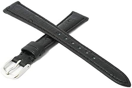 日本製 国内生産 職人によるハンドメイド腕時計ベルト 9mm 高級皮革オーストリッチ(ダチョウ革) ブラック 時計バンド シルバー尾錠 Made in Japan OS1-9S