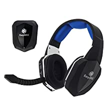 EasySMX 2.4G Optical Wireless XBOX ONE PS4 PS3 XBOX 360 PC Laptop Tablets Chat Skype MAC Gaming Headset 2 Detachable Mic (A Microsoft Adapter is Needed When Used to XBOX) Black and Blue