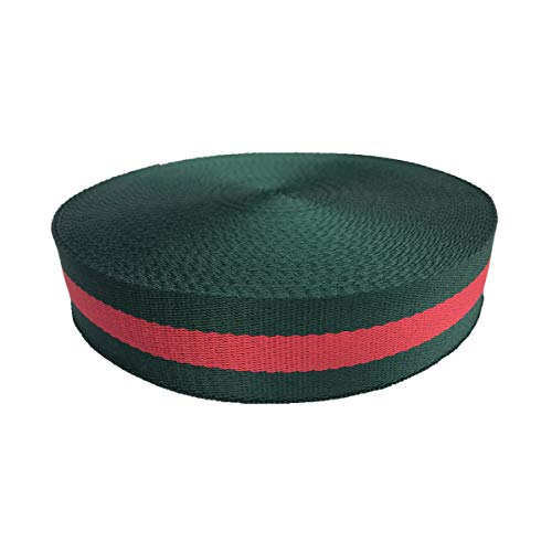 (QIANF Green/Red/Green Double Face Striped Canvas Webbing Roll 1 Inch Durable Strap for Belts, Bags, Crafts, 10 Yards)