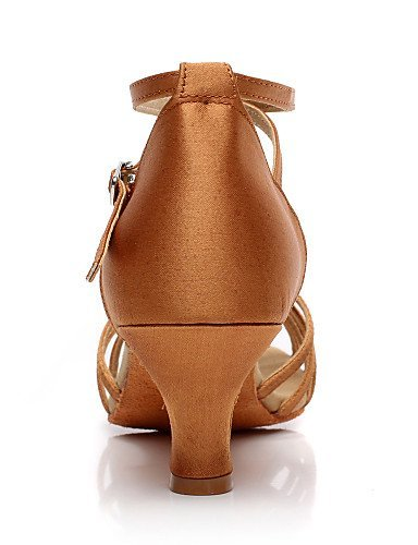 ShangYi Non Customizable Women's Dance Shoes Latin / Salsa Satin / Flocking Cuban Heel Black L759rjwz4