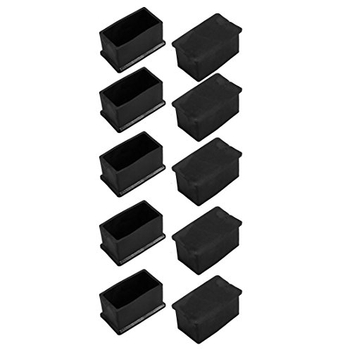 uxcell 10pcs 23x48mm Black PVC Rubber Rectangle Cabinet Leg Insert Cover Protector by uxcell