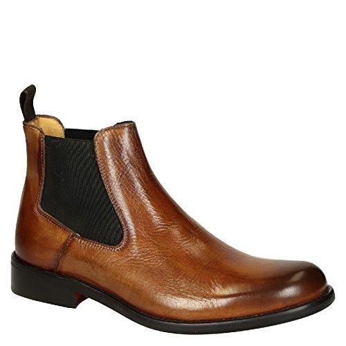 Leonardo Uomo Scarpe T042sivigliacuoio Ankle Boots In Pelle Marrone