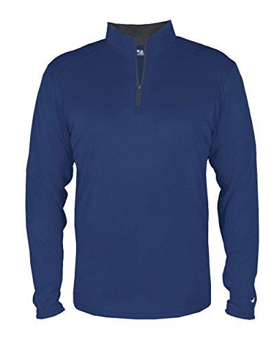 Navy Blue Youth Large Long Sleeve 1/4 Zip Pullover Wicking Sports Windbreaker Jacket - Pullover Navy Windbreaker