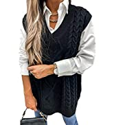 HOTAPEI Sweater Vest Women Oversized V Neck Sleeveless Sweaters Womens Cable Knit Tops