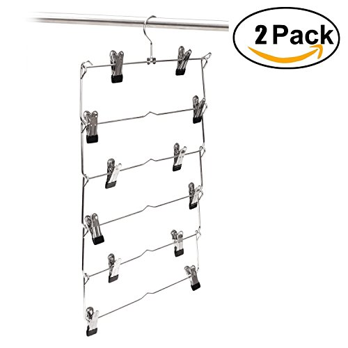 6 Tier Foldable Multi-skirt Hanger,Stainless Steel Pants Hangers Closet Organizer Space Saving Clothes Rack (2pack) by WTH shopping Go