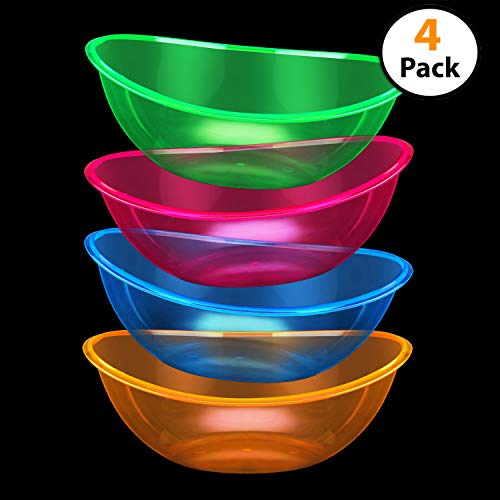 Set of 4 - Oval Plastic Contoured Serving Neon Bowls, Party Snack or Salad Bowl, 80-Ounce, Assorted -