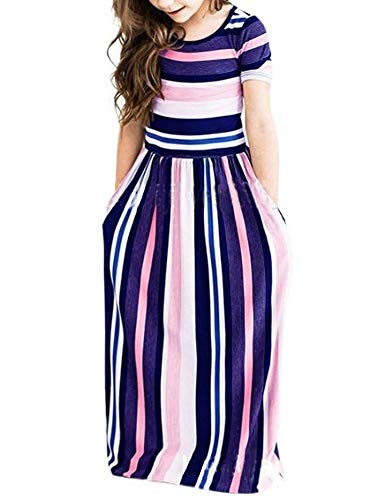 ZOEREA Girls Floral Maxi Dress for Summer, Short Sleeve Loose Casual Holiday Long with Pockets 5-10 Years (Stripped Purple, Label 140/9-10yrs)