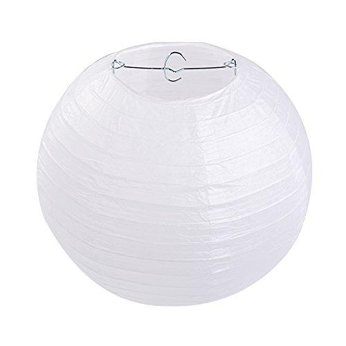 LIHAO 10 Inch White Round Paper Lanterns (10 Pack)]()