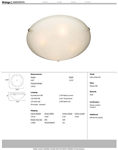 Maxim 2680MRSN Malaga 2-Light Flush Mount, Satin Nickel Finish, Marble Glass, MB Incandescent Incandescent Bulb, 60W Max, Dry Safety Rating, Standard Dimmable, Glass Shade Material, Rated Lumens by Maxim Lighting (Image #1)