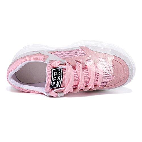 Lusam Känsla Kvinna Ventilerande Mesh Sports Löparskor Tillfällig Gång Sneaker Rosa