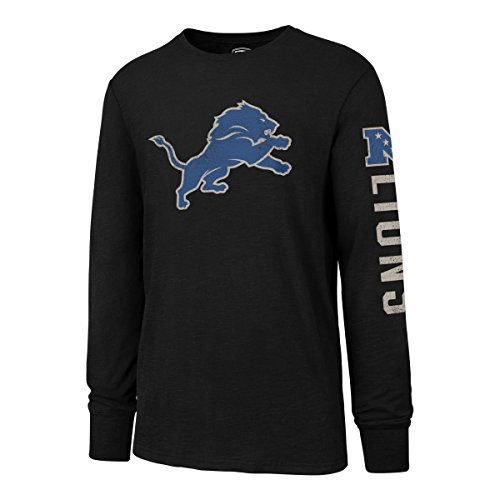 NFL Detroit Lions Men's OTS Slub Long Sleeve Team Name Distressed Tee, Jet Black, Large