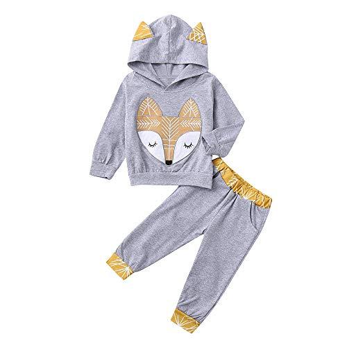 Suma-ma Adorable Cartoon Fox Baby Kids Hooed Top+Long Pant 2Pcs Outfit Set -