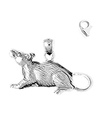 Sterling Silver 19mm Rat Charm w/ Lobster Clasp