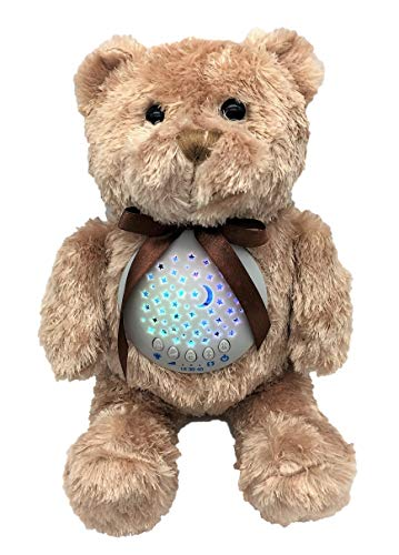 Baby Sleep Soother Sound Machine | Favorite Teddy Bear | Portable Stuffed Animal Star Projector Night Light 10 Calming Lullaby, Gentle Bird Song, Heartbeat Shusher Sound -