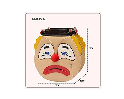 Personality Clown Style Female Bags - Clown Style, Front Smile Face, Back Cry Face, Ladies Shoulder Bag, Ladies Handbags,Women Cartoon bags, Women Halloween Bags
