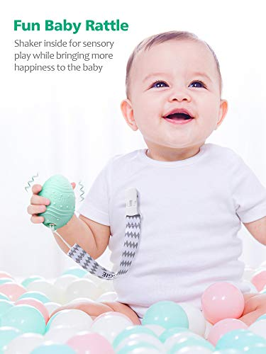 41MHC%2BFOoeL - Dino Eggie Baby Teether Egg-Shaped Teething Toy With Silicone Beaded Pacifier Holder Clip, BPA-Free, CPSC Lab Tested And Approved, For Baby Boys And Girls - Blue