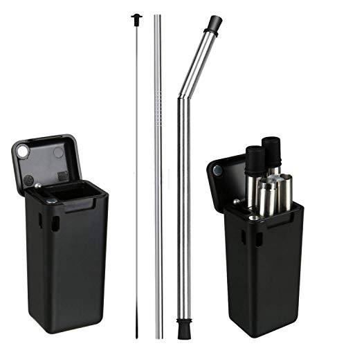 Eco-Friendly FroZip Collapsible Drinking Straw, Washable, Reusable, Comes With a Case and Cleaning Brush, Comes with Bonus Metal Straw