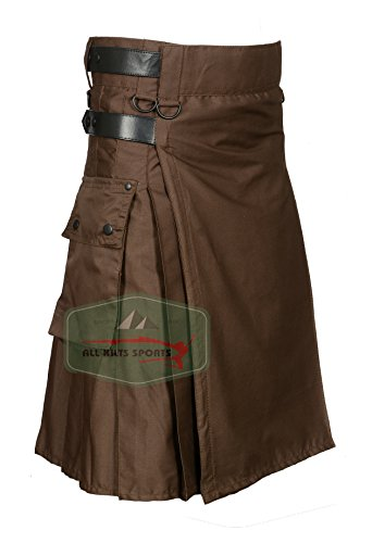 Chocolate Brown Leather Strap Utility Kilt For Active Man Kilt Wedding Kilts (32) by All Kilts Sports