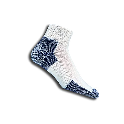 (Thorlos Thick Cushion Running Mini Crew Sock Size: L, Wht/Navy with a Helicase Sock Ring)
