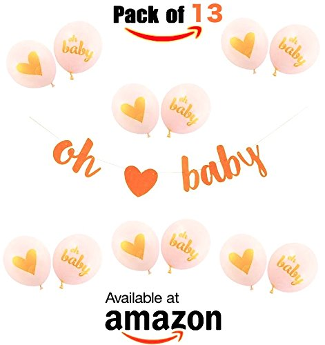 BABY SHOWER DECORATIONS | ★ ❤️ Gold Glittery Letters OH BABY With Heart Banner, OH Baby Balloons, 13 PACK ❤️ ★ Gender Reveal, Pregnancy Reveal, Decorations and Supplies ☀️The - Gift To India Cards Send