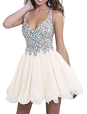 V-Neck Halter Sexy Beaded Short Dress For Girls Cocktail Homecoming Ball Gowns