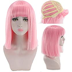 Women Short Bob Synthetic Wigs High Temperature Fiber Hair with Fringe/bangs and Rose Net Dark Green Blue Purple,Pink,16inches