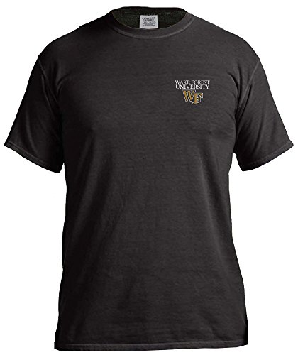NCAA Wake Forest Demon Deacons Simple Circle Comfort Color Short Sleeve T-Shirt, Black,Large