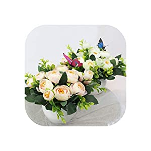 Artificial Flowers Rose Quality Ceramics Vase +Silk Flowers Artificial Set Home Decoration Home Flowers Decoration 82
