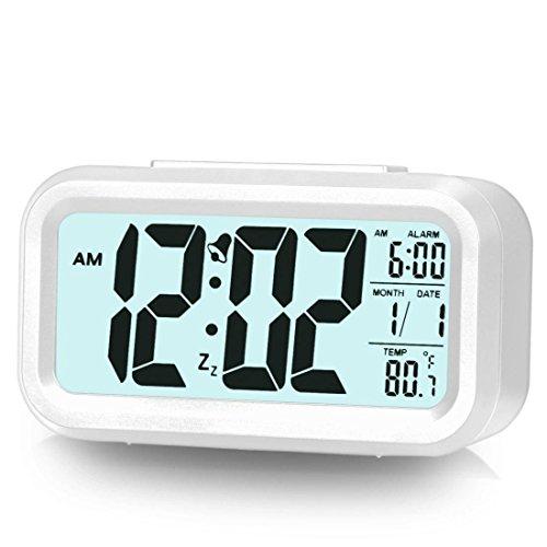 Alarm Backlight (Alarm Clock for Bedroom Digital Clock Smart Backlight with Dimmer (White))
