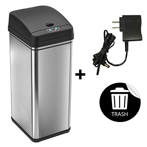 iTouchless 13 Gallon Automatic Touchless Sensor Kitchen Can with AC Adapter and Odor Filter Deodorizer, 1 Waterproof Reusable