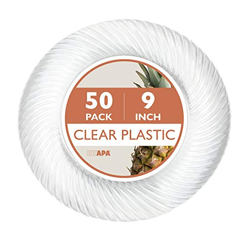 50 Premium Clear Plastic Plates for Dinner Party or Wedding - 9 Inch Fancy Disposable Plastics Plates ()
