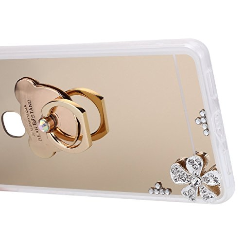 Funda Huawei Honor V8,Saincat TPU Silicona Carcasa Caso Diamante Piedras de Strass Brillo Bling Flores Espejo Funda con Soporte de anillo Diseño Funda Diamante llamativa Caso Suave TPU Funda Ultra Del Oro