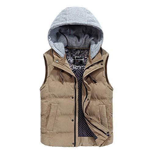 D'hiver Zipper Essentiel Jacket À Bretelle Manteaux Détachable Kaki Capuche Veste Boutons Homme Gilet Manteau Pour Une Mitten Matelassé Chauds 1v7Yn8w
