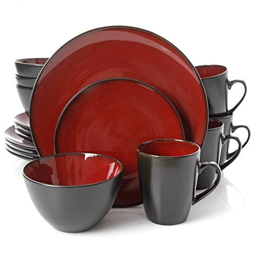 Gibson Home Soho Lounge Round 16 Piece Dinnerware Set, Burgundy (Red Plate Set)