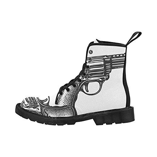 Zapatos De Moda De Interestprint Botas Con Cordones Con Estampado De Armas Para Mujer Suela Negra