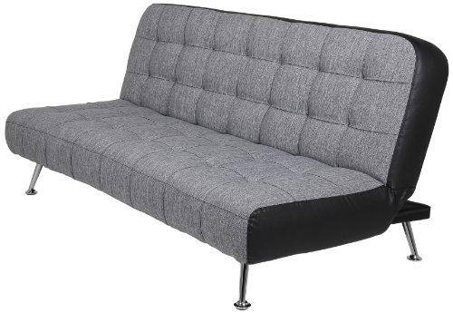 AC-Design-Furniture-50131-Schlafsofa-Joost-Bezug-Stoff-dunkelgrau-Seiten-Kunstleder-schwarz-Liegeflche-ca-192-x-116-192-x-86-x-90-cm
