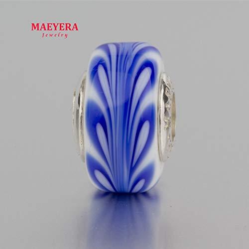 Calvas Authentic 925 Sterling Silver Lampwork Beads Blue Barrel Beads Murano Glass Beads Fit European Charm Bracelet 920325