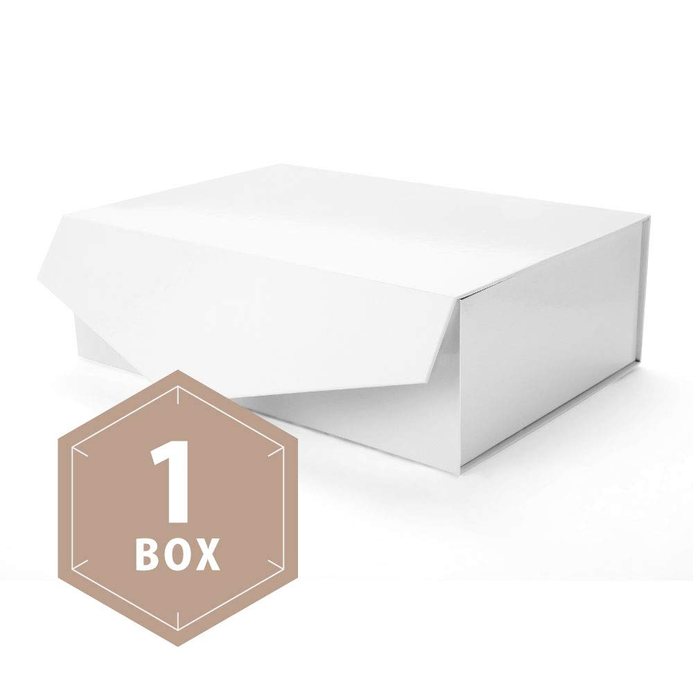 PACKHOME Large Gift Box Rectangular 14x9.5x4.5 Inches, Bridesmaid Proposal Box, Sturdy Storage Box, Collapsible Gift Box with Magnetic Closure (Glossy White, 1 Box) by PACKHOME