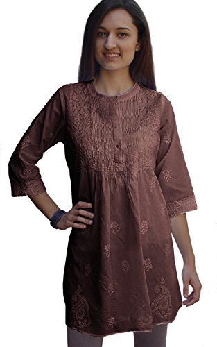 - Ayurvastram Bibab Pure Cottn Hand Embroidered Front Pleated Tunic Top Kurti: Coffee: Size 16