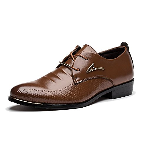 SEENFUN Men's Round-toe Lace-up Oxford Casual Dress Shoes Brown US 10