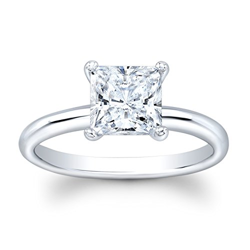 (Ladies 14k white gold engagement ring solitaire with 2 ct natural Princess Cut White Sapphire center)
