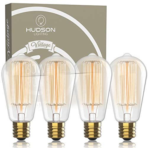 (Vintage Incandescent Edison Light Bulbs: 60 Watt, 2100K Warm White Lightbulbs - E26 Base - 230 Lumens - Clear Glass - Dimmable Antique Filament ST64 Light Bulb Set - 4 Pack)
